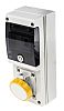 RS PRO IP67 Yellow Wall Mount 2P+E Industrial