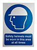 RS PRO PVC Mandatory Head Protection Sign With
