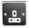 MK Electric Silver 1 Gang Plug Socket, 2P+E