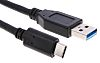 Cable USB USB 3.0, 1m, Negro, Male USB C a USB A macho