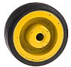 RS PRO Black, Yellow Rubber Trolley Wheel, 100kg