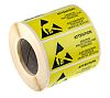 RS PRO Yellow Paper ESD Label, Attention Observe