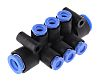 6 Outlet Ports PBT Pneumatic Manifold Tube-to-Tube Fitting,