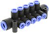 10 Outlet Ports PBT Pneumatic Manifold Tube-to-Tube Fitting,
