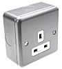 MK Electric Grey 1 Gang Plug Socket, 13A,
