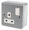 MK Electric Grey 1 Gang Plug Socket, 2