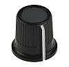 Knoflík potenciometru barva Černá, šedá 16.2mm, barva ukazatele: Bílá barva ukazatele 6mm hřídel RS PRO Kulatý
