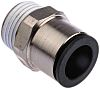Legris Pneumatic Straight Threaded-to-Tube Adapter, R 1/2 Male,