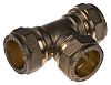 RS PRO 22mm Equal Tee Brass Compression Fitting