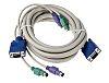 RS PRO 3m PS/2 x 2, VGA to PS/2 x 2, VGA KVM Mixed Cable Assembly