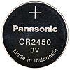 Panasonic CR2450 Button Battery, 3V, 24.5mm Diameter