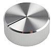 Poti-Drehknopf Silber, Zeiger-Farbe Schwarz, Knopf-Ø 30mm x 12.5mm, Schaft 6.4mm