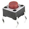 Red Button Tactile Switch, Single Pole Single Throw (SPST) 50 mA @ 24 V dc 1.4mm