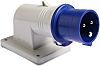 RS PRO IP44 Blue Wall Mount 2P+E Right Angle Industrial Power Plug, Rated At 16.0A, 230.0 V
