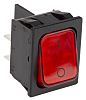 Marquardt Illuminated Double Pole Single Throw (DPST), On-None-Off Rocker Switch Panel Mount