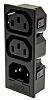 Bulgin C13, C14 x2 Snap-In IEC Connector Socket,