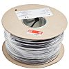 RS PRO 2 Core Unscreened Industrial Cable, 0.5 mm² Black 100m Reel