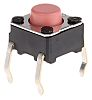 Pink Plunger Tactile Switch, SPST-NO 50 mA @ 24 V dc 0.9mm