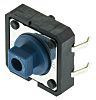 Érintőkapcsoló Kék, Süllyesztőzár, SPST-NO, 50 mA 24 V DC esetén, 7.3mm 3mm