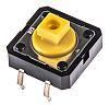 Interruptor táctil tipo Émbolo, Amarillo, contactos SPST-NA 7.3mm