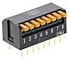 DIP kapcsoló 8P, furatos, rögzítés, működtető típusa: piano, 25 mA 24 V DC esetén, 8-pozíciós, -20 → +70°C