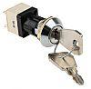 IP67 Key Switch, Double Pole Single Throw (DPST), 4 A @ 250 V ac 2-Way