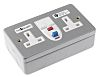 Theben / Timeguard Valiance 13A, BS Fixing, Active, 2 Gang RCD Socket, Steel, Surface Mount, Switched, 230V ac, Silver