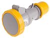 Scame IP66, IP67 Yellow Cable Mount 2P+E Industrial Power Socket, Rated At 32.0A, 110.0 V