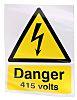 RS PRO Self-Adhesive Danger 415 Volts Hazard Warning