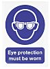 RS PRO Vinyl Mandatory Eye Protection Sign With
