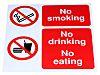 PP No Smoking Prohibition Sign, No Eating, No