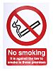 Vinyl No Smoking Prohibition Sign, No Smoking Aganist