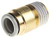 SMC Pneumatic Straight Threaded-to-Tube Adapter, R 1/4 Male,