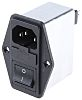 Schaffner,2.4A,250 V ac Male Flange Mount IEC Inlet