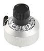 Mando de potenciómetro Vishay, eje 6.35mm, diámetro 22.2mm, Color Cromo, indicador Negro