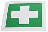 RS PRO Vinyl Green/White First Aid Label, 100