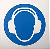 RS PRO Plastic Mandatory Wear Ear Protection Sign With Pictogram Only Text