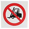 Plastic No Fork Lift Trucks Prohibition Sign, None