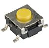 Yellow Button Tactile Switch, SPST-NO 50 mA @