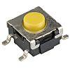 Érintőkapcsoló Sárga, Gomb, SPST-NO, 50 mA 24 V DC esetén, 3.65mm 0.55mm
