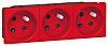Legrand Red 3 Gang Plug Socket, 16A, Type