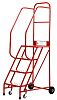 RS PRO 4 Tread Steel Steps 1m Platform Height, Red