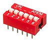 6 Way Through Hole DIP Switch 6PST, Recessed
