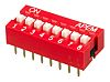 8 Way Through Hole DIP Switch 8PST, Recessed