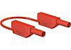 Staubli Test lead, 15A, Red, 25cm Lead Length