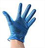 TE Connectivity Blue Vinyl Disposable Gloves size 9.5
