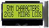 Midas MCCOG21605D6W-SPTLYI Alphanumeric LCD Display Yellow-Green,