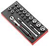 Facom MODM.SL1SLS 21 Piece Socket Set, 1/2 in