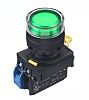 Idec, YW Illuminated Green, NO, 22mm Momentary Screw