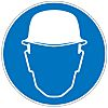 Brady PET Mandatory Head Protection Sign With Pictogram